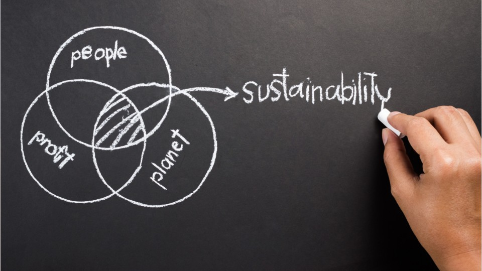sustainability venn diagram of 3 interlocking circles labeled peope, profit, and planet