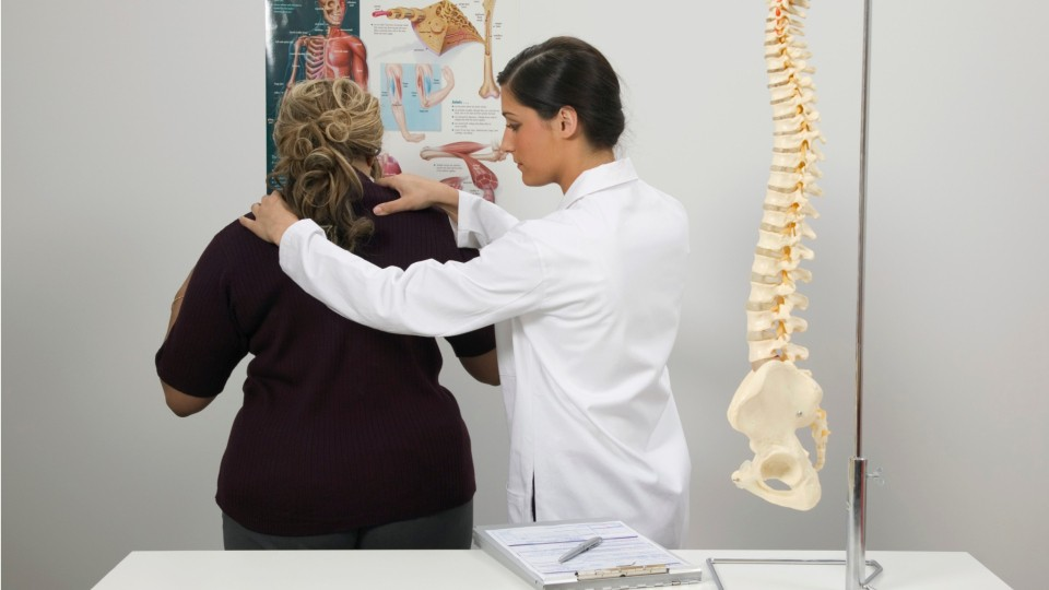 chiropractor examining a patients back