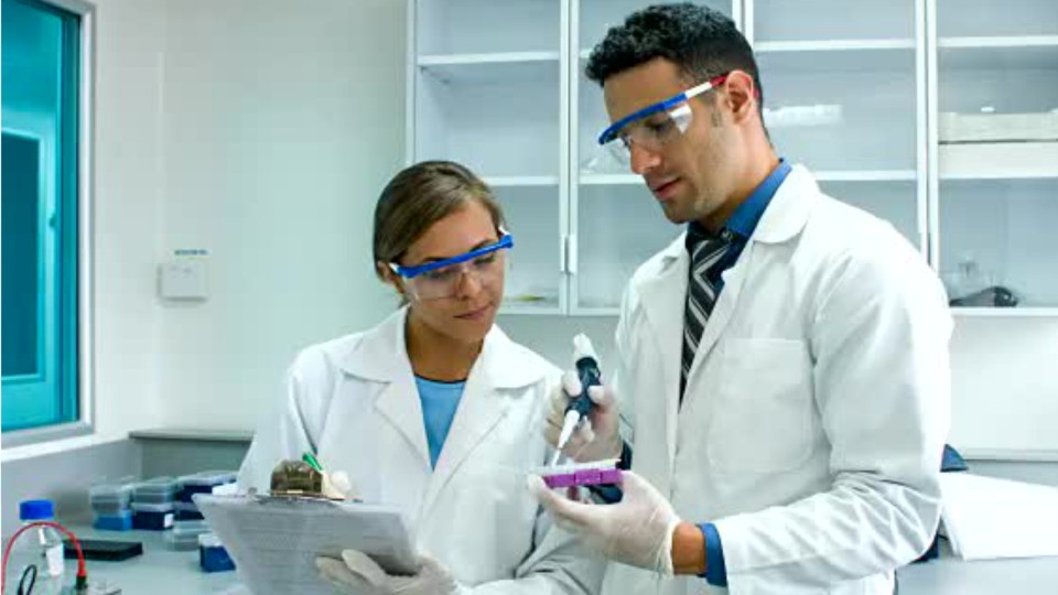 two people in a medical lab looking at test samples