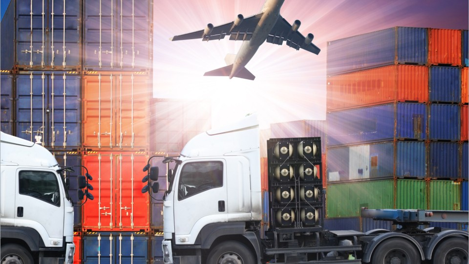 photo mashup of cargo and freight shipping containers, semi trucks, and an airplane